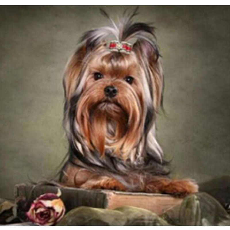 Pieno Quadrato/rotondo FAI DA TE Disegni e schemi per puntocroce del cane Del Diamante Del Ricamo Animale cane Mosaico di Strass decorazione della casa M813