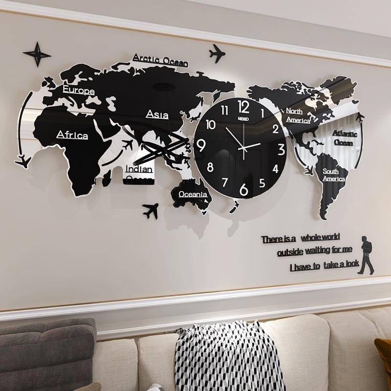Carte du monde créative grande horloge murale moderne acrylique 3d horloges mur décor à la maison salon silencieux montre murale mécanisme Saat FZ592
