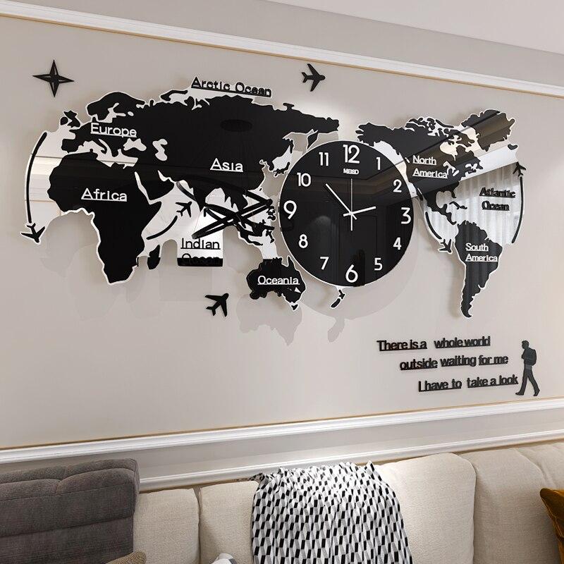 Creative World Map Large Wall Clock Modern Acrylic 3d Clocks Wall Home Decor Living Room Silent Wall Watch Mechanism Saat FZ592