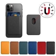 Mag ADSORCIÓN-Funda de cuero para iPhone 12 Pro Max 12Mini Macsafe... tarjetero magnético de cubierta del teléfono Ultra fino