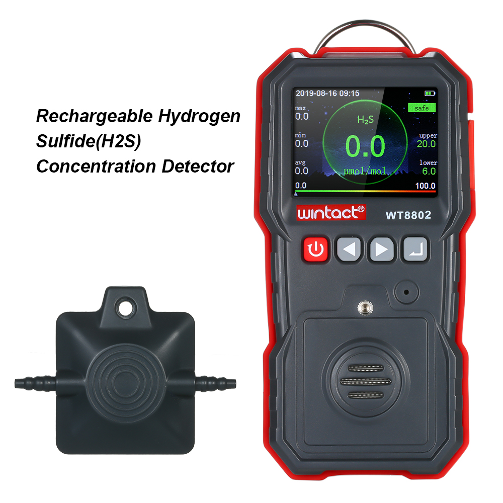 Professional Portable Hydrogen Sulfide(H2S) Concentration Detector with 120000 Data Logging and Vibration Alarm 0 ~ 100μmol/mol|Gas Analyzers| |  -