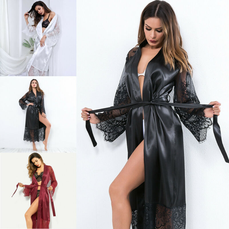 Silk Long Wedding Bride Bridesmaid Robe Women Floral Bathrobe Kimono Robe
