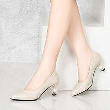 Women Fashion Beige Pointed Toe Pu Leather Slip on Stiletto for Office Ladies Black Party High