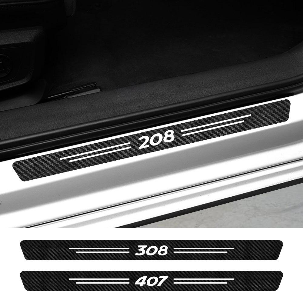 Pegatinas para umbral de puerta de coche, accesorios para Peugeot 107, 108, 206, 207, 208, 301, 306, 307, 308, 407, 408, 508, 2008, 3008, 5008