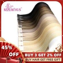K.S парики прямые Remy Hand tiked Tape искусственная кожа утка человеческие волосы для наращивания салон образцы 10 шт. для тестирования 16 ''20'' 24''