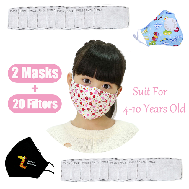PM2.5 Kids Adult Face Mask Cute Mouth Mask Activated Carbon Filter Children Washable Reusable Cloth Fabric Cotton Masks Pink 1