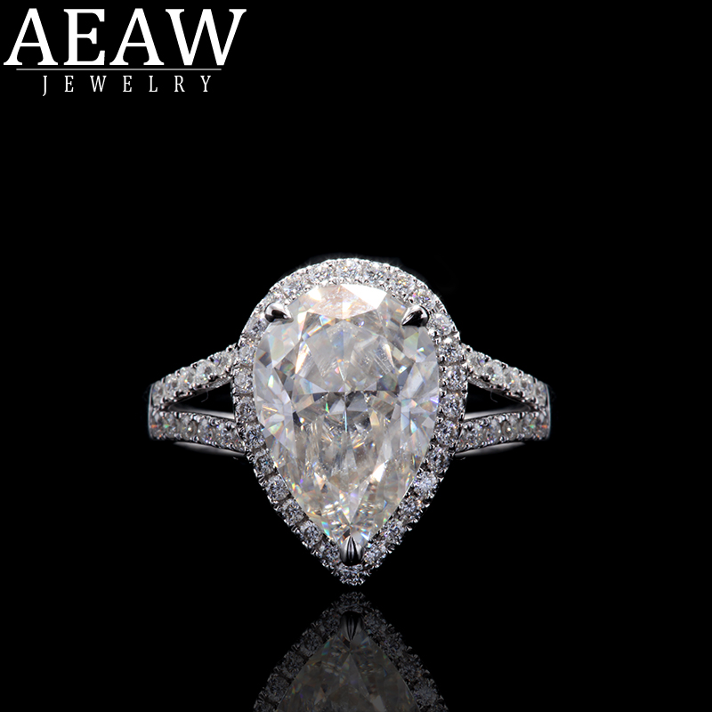 Unique Wedding Ring Double Halo 3 0ct Pear Cut Brilliant Moissanite Engagement Ring 14k White Gold Moissanite Ring For Women Rings Aliexpress