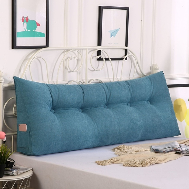 Hot Backrest Cushion Removable Bed Cushions Long Reading Pillow for Sofa Tatami Wedge Floor Pillow Solid Color Waist Cushion