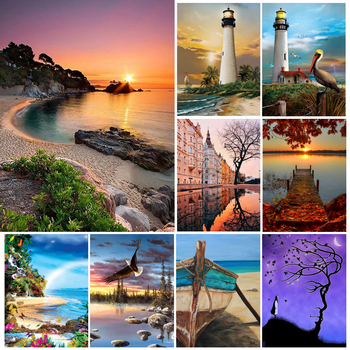 5D DIY Diamond Painting  Full Square Landscape Sunset Cross stitch Kit Mosaic Picture of Rhinestones Decor Diamond Embroidery