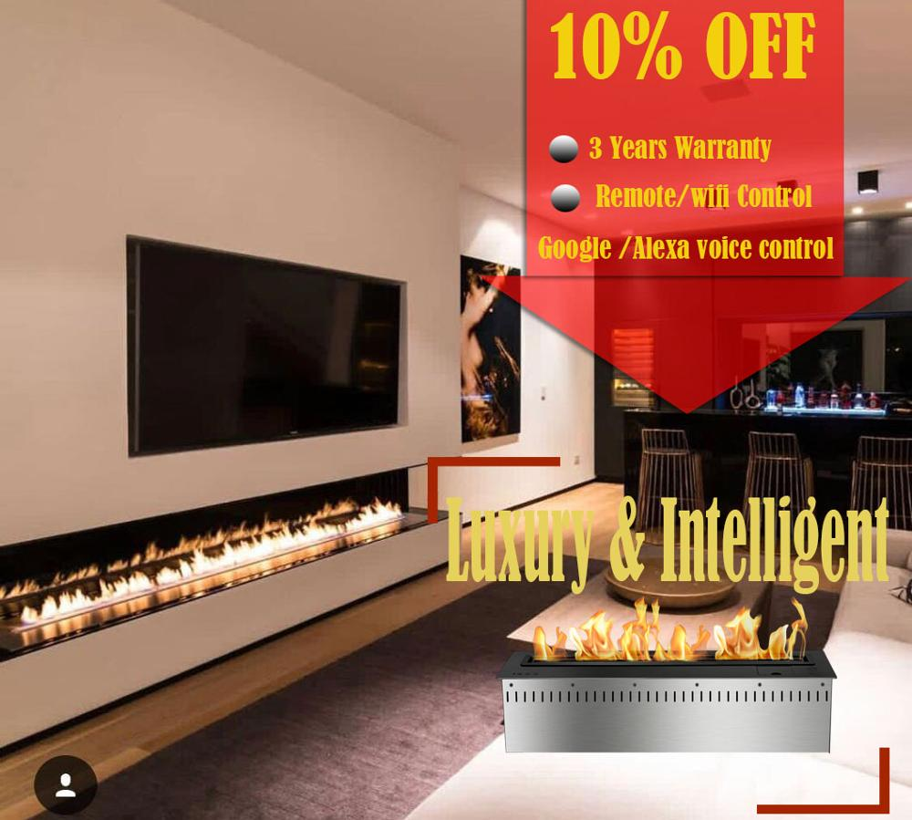 Hot Sale 72 Inch Indoor Fireplace Bio Etanol Chimney Remote Smart Fireplace
