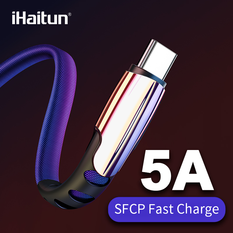 iHaitun 5A USB Type C Cable For Huawei P30 Pro USB 3.1 Quick 3.0 Cord Phone Charger For iPhone XS Wire Charging Redmi Note 7 K20