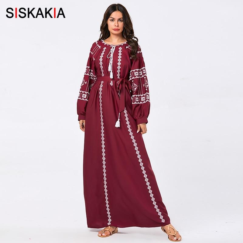 Siskakia Plus Size Women Long Dress Ethnic Geometr