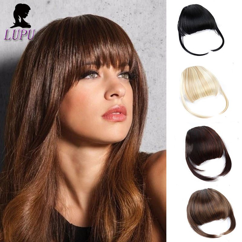 LUPU Short Front Blunt Bangs Clip In Hair Extensions Fringe Striaght Natural Fake Hairpieces Heat Resistant Fiber For Women