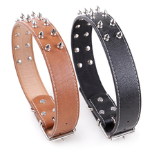 Metal Punk Decorative Pet Collar For Large Dogs Fashion PU Leather Adjustable Puppy Collars Dog Supplies Shop Rottweiler
