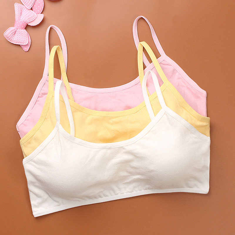 Cotton Kids Sports Bra Push Up Running Bra Tops Girls Full Cup Seamless Underwear Training Puberty Bra Sports Yoga Gym Sport Bra
