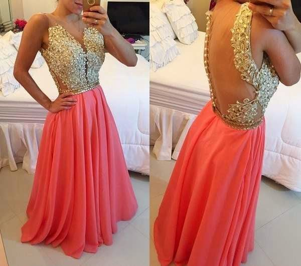 New Arrival Sexy Middle East Chiffon Evening Dresses 2015 With Beading Applique Backless Crew Neck Charming Hot Prom Gowns ZY035