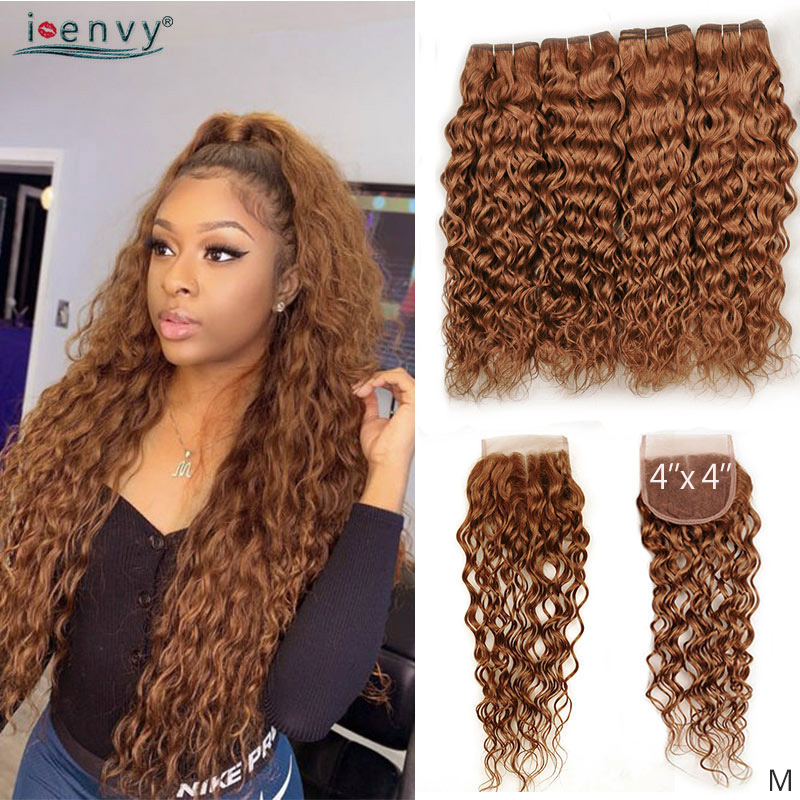 Blonde Water Wave Bundles With Closure Colored Bundles With Closure Ginger Peruvian Human Hair Bundles With 4*4 Closure Non-Remy