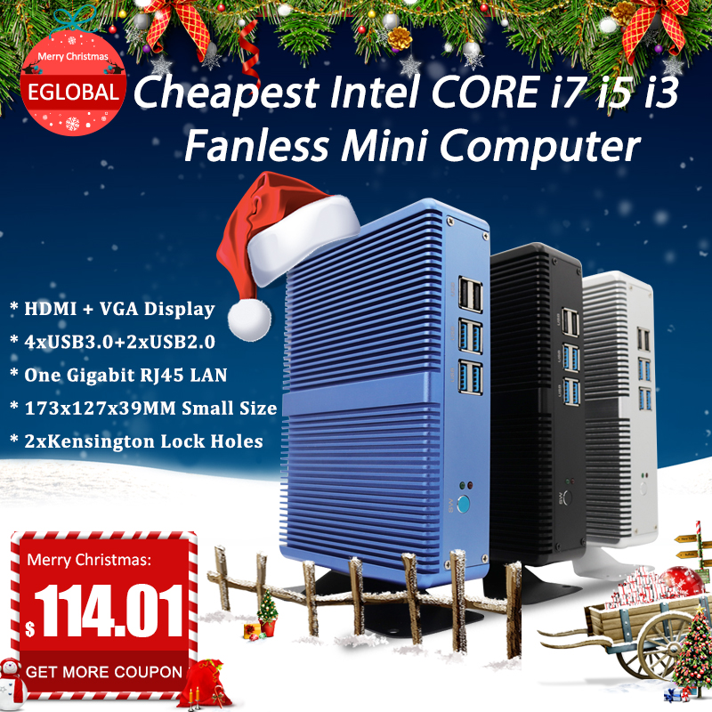 EGLOBAL Hot Sell Fanless Gaming Computer I3/I5/I7 DDR4 DDR3L Windows 10 Pro Mini Pc HDMI VGA  TV Media Player GAMING Desktop