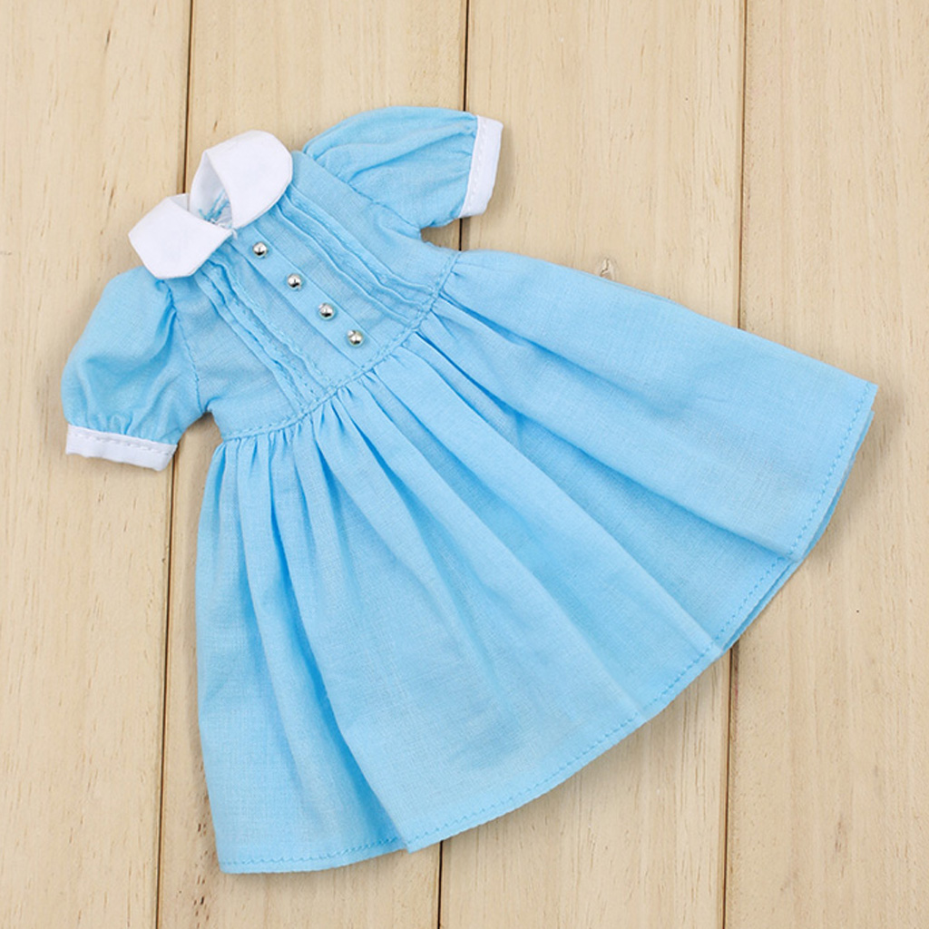 Cute Blue Long Sleeve Dress with White Collar for 12/'/' Blythe Doll Clothes