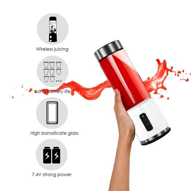 380ml 4000mAh USB Rechargeable Portable Glass Cup Personal Mini Blender Juicer Vegetable Fruit Citrus Orange Juice Maker Mixer 2