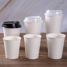 Gobelets en papier blanc jetables avec couvercle, 100 pièces/paquet, tasse de café, de thé au lait, accessoires pour boissons, pour la maison, le bureau, fournitures de fête