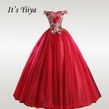 It's YiiYa Wedding Dresses V-neck Crystal Embroidery Robe De Mariee Elegant Off Shoulder Long Wedding Dress Plus Size CH157