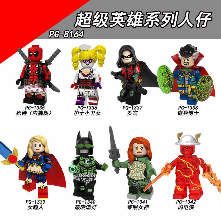 PG8164 Combinado Legoing Semelhante à montagem blocos Série de pessoas Enfermeira Superheroing Robin Palhaço menina Supermulher Relâmpago