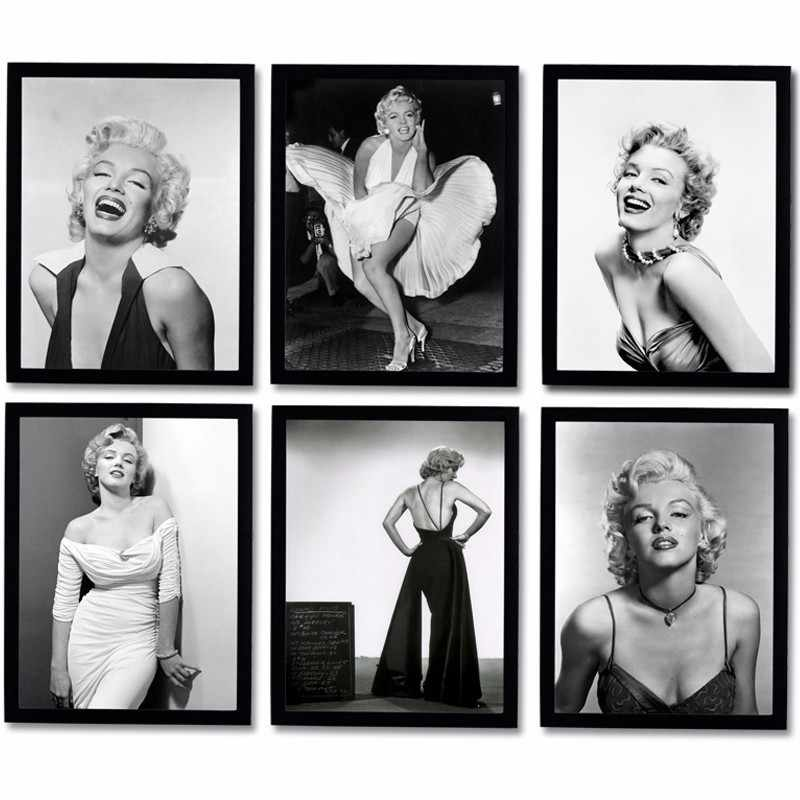 Marilyn Monroe Wall Pictures for Living Room Movie Posters and Prints Wall Art Canvas Painting Home Decor Black White Figure