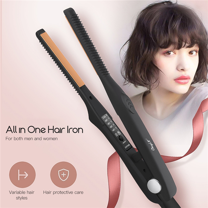 CkeyiN Man 2 in 1 Ultra-Thin Plate Hair Straightener Curler Ceramic Flat Iron for Short Hair Women Men Adjustable Temperature