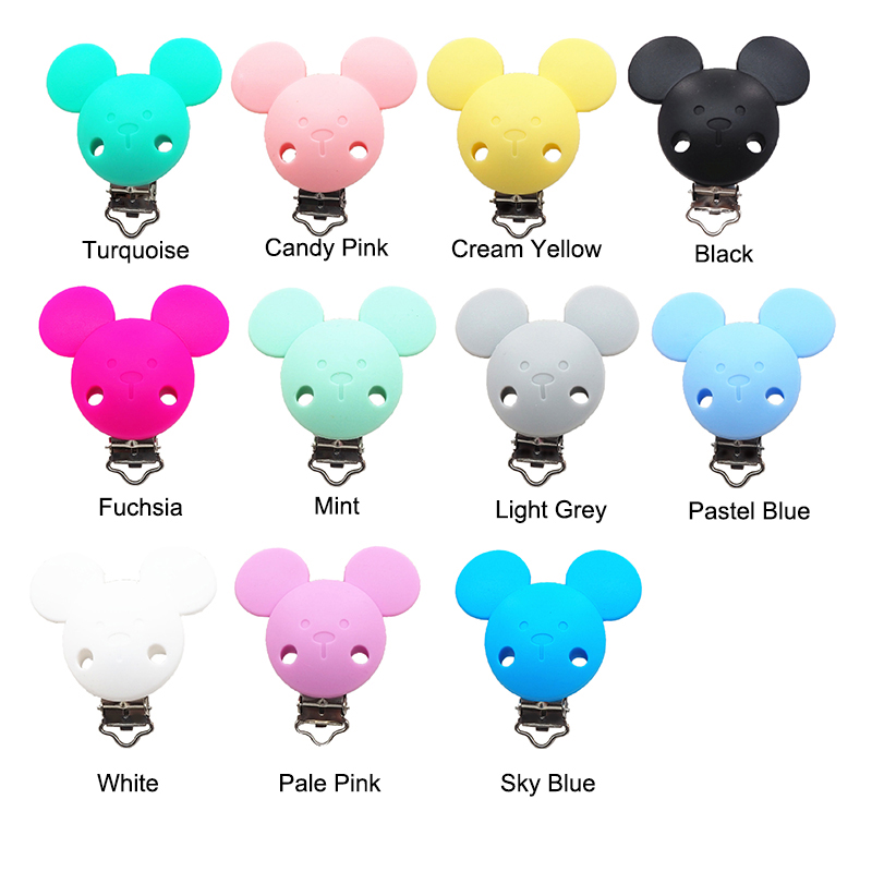 Chenkai 10PCS Silicone Mickey ClipsPacifier Dummy Teether Chain Holder Clips DIY Baby Mouse Animal Nursing Teething Toy Clip