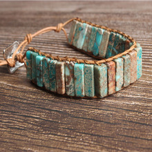 LanLi natural Jewelry cuboid  sky blue The emperor stone knit bracelet men and women Giving presents self use