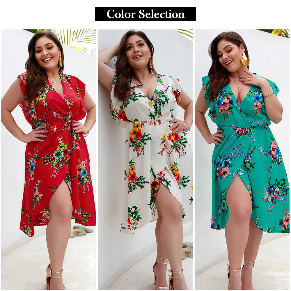 2020 Sexy Plus Größe frauen Kleid Sommer Mode Bohemian Floral Print Sleeveless V-ausschnitt Spitze Asymmetrische Kleid Strand Party Kleid