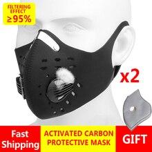 2pcs/lot Reusable Mouth Caps Face Mask pm25 Filter Washable pm2.5 Cotton Protective Cloth Disposable Mask for Pcs Black White
