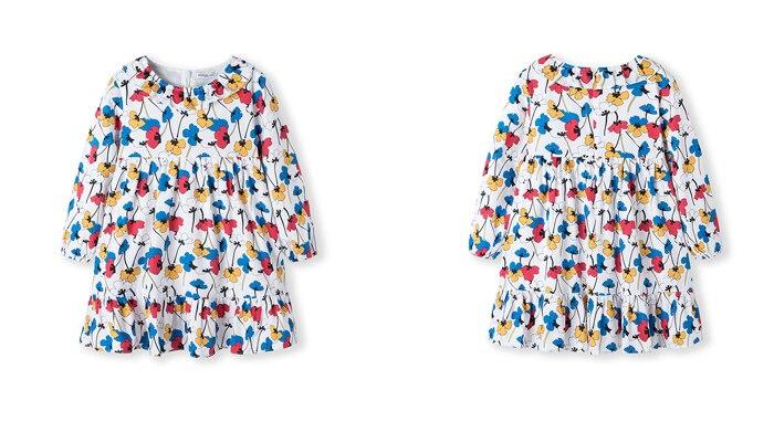 novo algodão manga longa vestido crianças vestidos de traje para a princesa