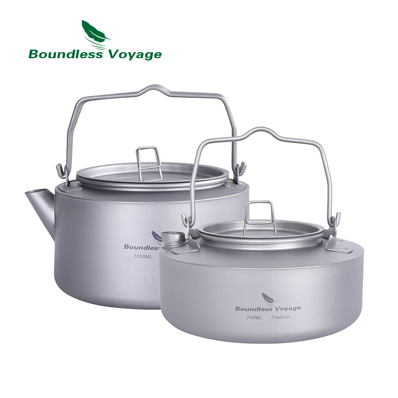 Boundless Voyage Outdoor Camping Titanium 1L Kettle Cup Set Ultralight Big Capacity Pot with Folding Handle Filter