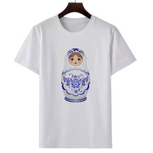 T shirt cartoon picture print women's dress T shirt casual fashion T shirt summer short sleeve top white round collar T shirt