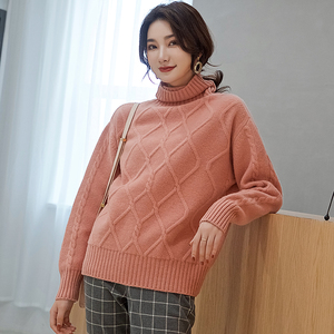 Image 5 - 숙 녀 점퍼 100% 캐시미어 및 양모 니트 스웨터 여성 2019 터틀넥 4 색 두꺼운 pullovers 옷