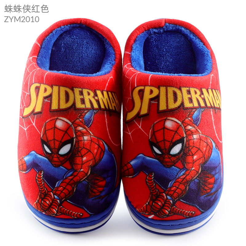 WQLESO Pantoufles en Coton Spiderman pour Enfants gar/çons Automne et Hiver Dessin anim/é Chaud Anti-d/érapant Chaussures dint/érieur /à Semelle Souple Chaussures de Maison