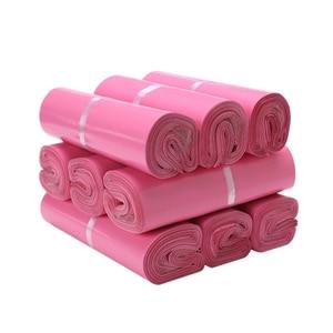 Image 2 - (100 stück/lot) Rosa Express Tasche Dicke Wasserdichte Kleidung Verpackung Taschen Logistik Kunststoff Kurier Tasche