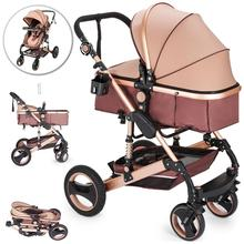 VEVOR Baby Stroller 2 in 1 Portable Baby Carriage Stroller Anti-Shock Springs Foldable Luxury Baby Stroller cheap CN(Origin) Cloth Europe And America Metal Aluminum Alloy 33 5 x 24 4 x 39 7inch 85 09 x 62 x 101cm Gold Yes (With Spring)