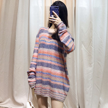 2019 Autumn Color Striped Knitted Sweater Small Fresh and Lazy Wind High Quality Woolen Sweater O-Neck Pullovers Sweater Women 2019 autumn sweater new women hemp irregular pullover woolen sweater o neck pullovers women sweater