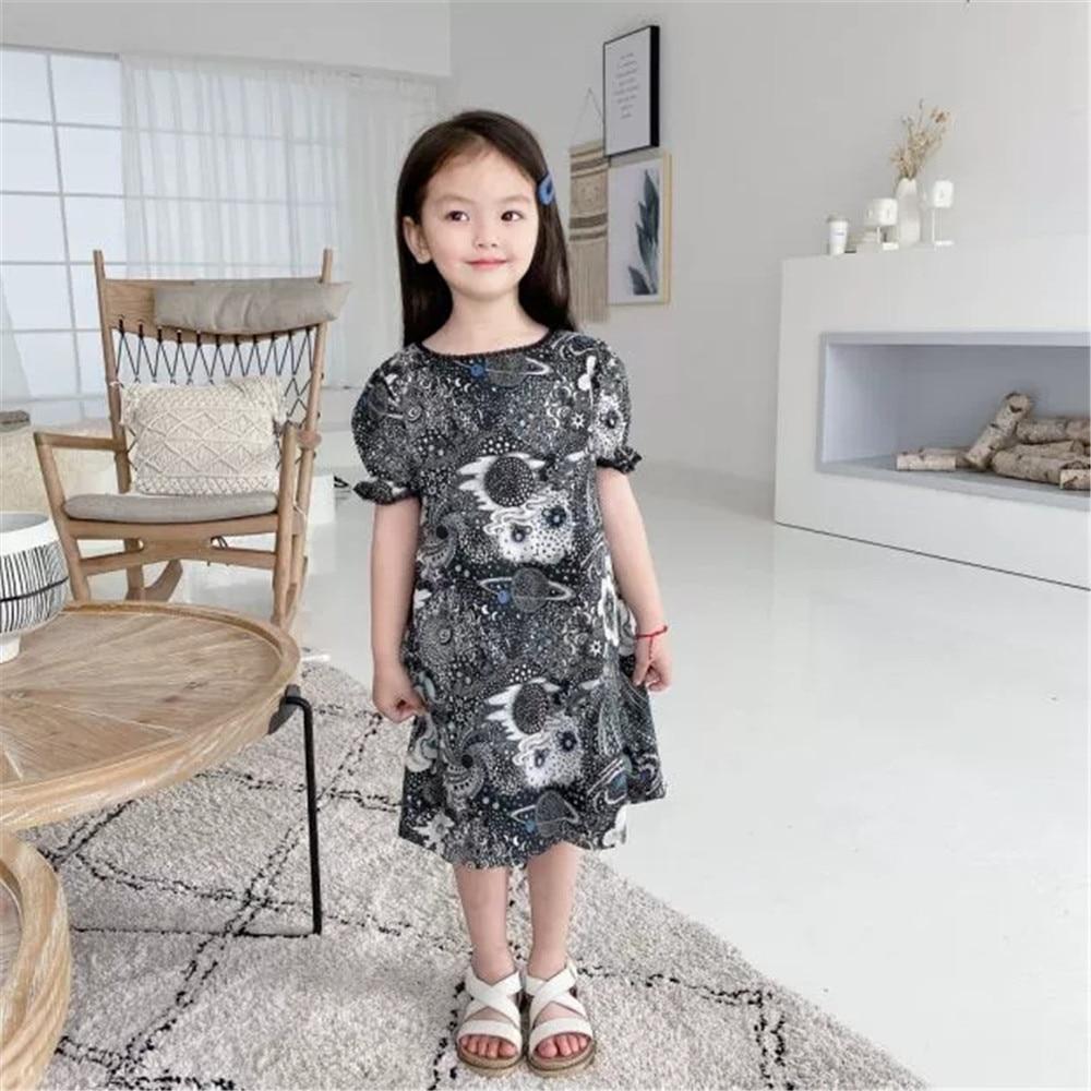 2020 New Girls Fashion Cotton Puff Sleeve Black dress Brand BP Style Girl Dresses Clothings Outwear