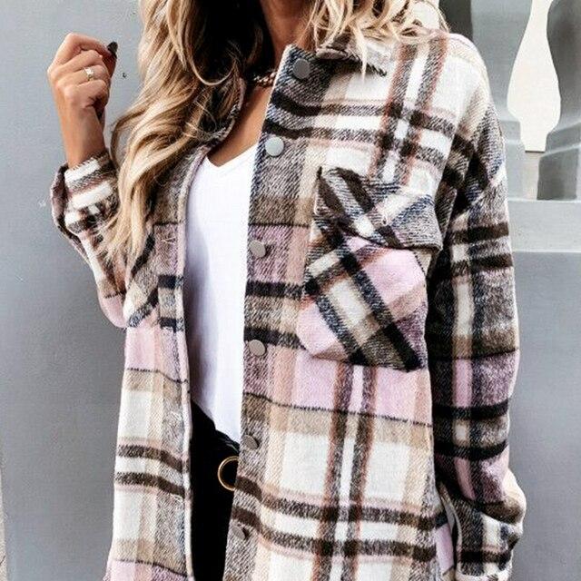 Повседневная зимняя женская клетчатая теплая рубашка на пуговицах 6