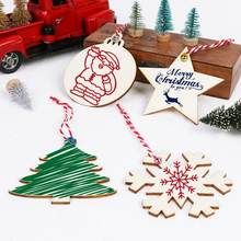 OurWarm 40Pcs Unfinished Wooden Christmas Ornaments DIY Crafts Christmas Decorations for Tree Hanging Pendants New Year Gifts(China)