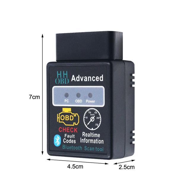 Advanced HH OBD ELM327 Bluetooth Scanner OBD2 ELM 327 V2.1 Diagnostics Auto Code Reader ELM327 2.1 OBD2 Interface Adapter