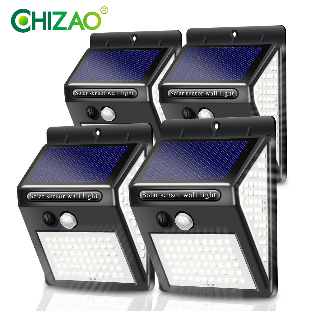 CHIZAO 4 Packs Outdoor wall lamp Solar light Garden lights Waterproof PIR Motion sensor 3 lighting modes No electricity bill