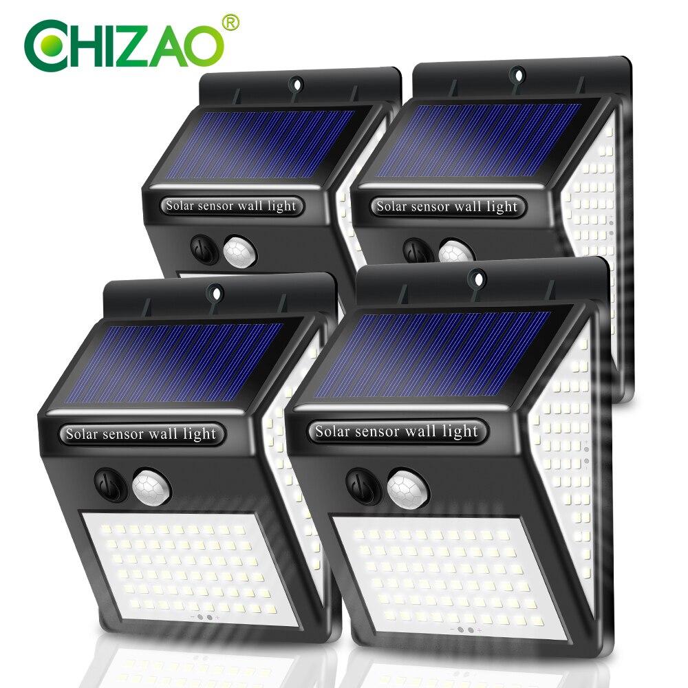 CHIZAO 4 Packs Outdoor Wall Lamp Solar Light Garden Lights Waterproof PIR Motion Sensor 3 Lighting Modes No Electricity Bill