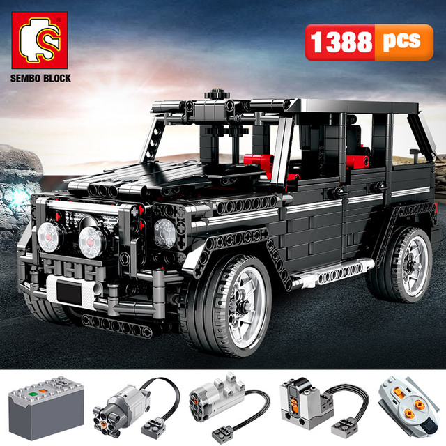 SEMBO 1388pcs Creator City Cross Country SUV Car Building Blocks Technic RC/non-RC Car AWD Vehicle Bricks Toys For boys