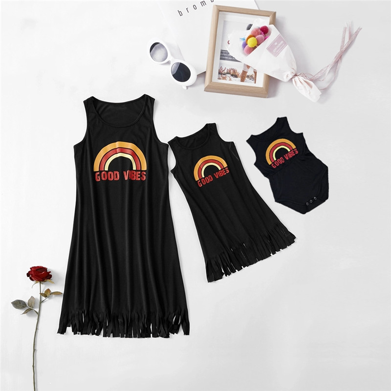 PatPat 2020 New Summer Good Vibes Vest Matching Dresseses Matching Outfits Mommy And Me
