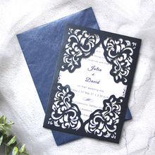цена на 50pcs/lotLaser Cut Wedding Invitations with Hollow Floral  Elegant Invites Cards For Marriage Party Supplies 50pcs/lot